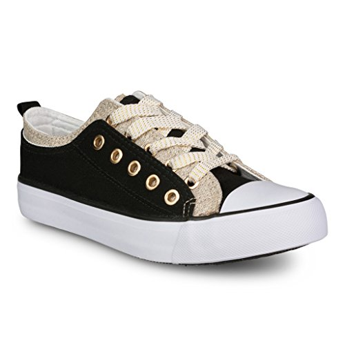 Twisted Women's Double-Up Two Tone Canvas Fashion Sneaker - Black/Gold, Size (Gold Double Lace)