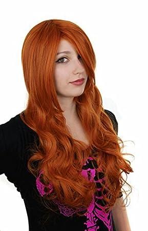 Prettyland C716 - 70cm Peluca roja naranja a larga melena con reflejos y puntas onduladas sueltas