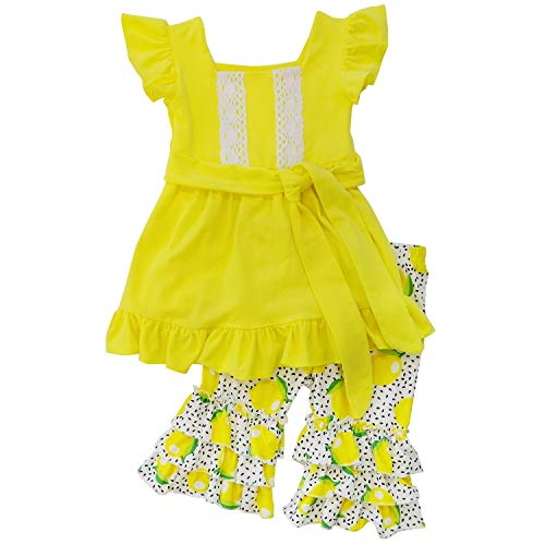 So Sydney Girls Toddler 2-4 Pc Novelty Spring Summer Top Capri Set Accessories (3T (S), Lots of Lemons) ()