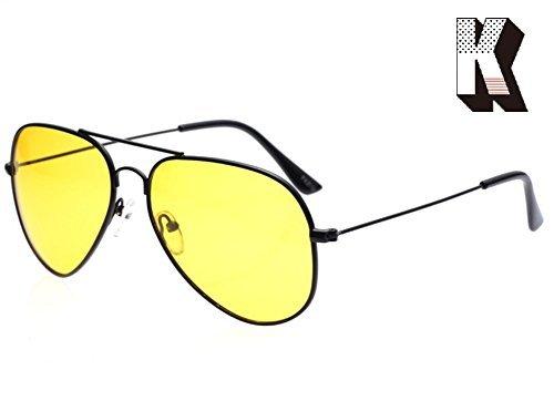 - Kagogo Men Women Night Vision HD Polarized Glasses for Driving Fishing Shooting Yellow Aviator Anti Glare Alleviate Eye Fatigue Safety Sunglasses (Black Frame025)