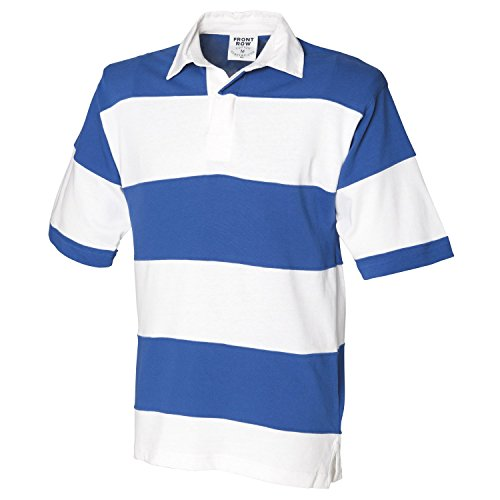 Front Row Sewn stripe short sleeve rugby shirt White/ Royal (White collar) 2XL (Rugby Stripe Shirt Sewn)