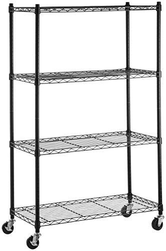 - AmazonBasics 4-Shelf Shelving Unit on 3in Casters, Black (Renewed)