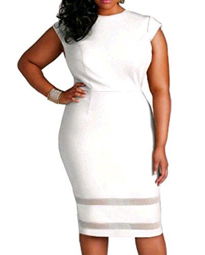 Mid Stitching Solid Womens Oversized Dress Sleeve Comfy Mesh Short White xvSfU0q