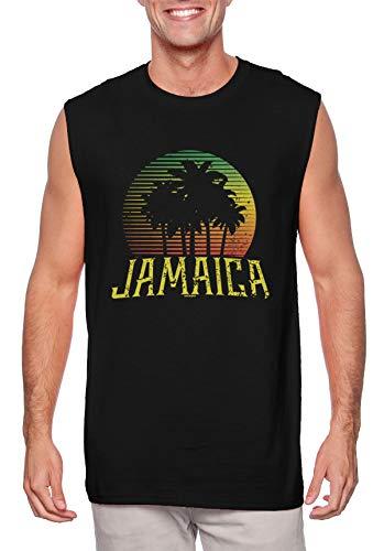 Jamaican Palm Trees Scene - Love Jamaica Men's Sleeveless Shirt (Black, Large) (Jamaican Black Rum Cake Recipe From Scratch)