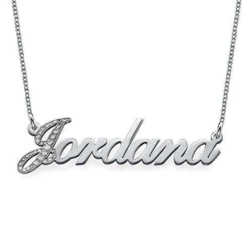 Necklace Style Tiffany 14k - Diamond 14k White Gold Personalized Classic Name Necklace - Custom Jewelry- Diamond Pendant Gift