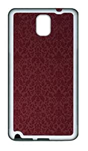 Burgandy Victorian Pattern TPU Silicone Case Cover for Samsung Galaxy Note 3 N9000¨C White