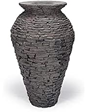 """Aquascape 78207 Medium Stacked Slate Urn Fountain for Landscape & Gardens, 45"""" Tall"""