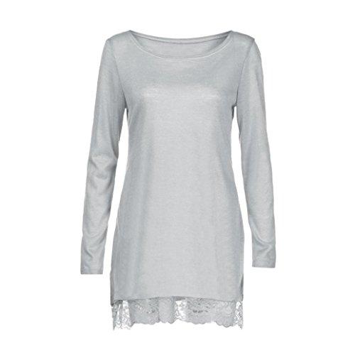 fa1e6aff71d0dc ♪ZEZKT♪Frauen Beiläufige Lose O Neck Langarm Solide Tunika Kleid Spitze  Patchwork Knielang Kleid ...