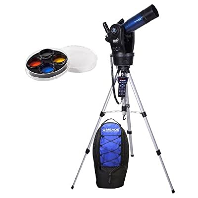 """Meade ETX80 Observer Telescope 80mm GoTo Refreactor with Backpack with 4 Piece 1.25"""" Filter Set"""