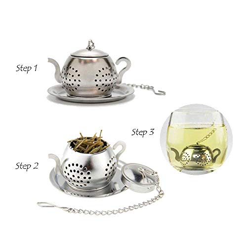 Stainless Steel Teapot Tea Infuser Strainer w/Tray by Lyanther (Image #1)