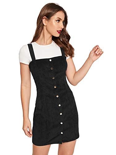 Floerns Women's Cute Strap Button up Corduroy Overall Sheath Pinafore Dress Black-1 M ()