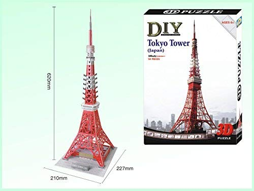 Creative & Entertaining 3D PUZZLE Games Tokyo Tower (Japan) For Ages 6+, DIY BUILD MY WORLD (50 pcs, difficulty degree on 4 stars)