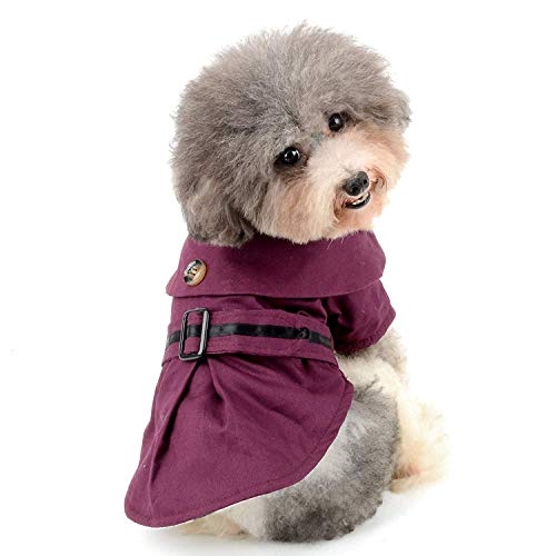 fogohill Fashion Windproof Small Dog Trench Coat Jacket Pet Fleece Lined Clothes Warm Puppy Parka Cat Apparel Blue Large -