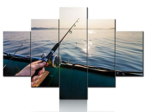 Contemporary Wall Art Fishing Tackle Pictures Seascape Artwork 5 Panels Printed on Canvas Living Room House Decorations Sunrise Paintings Stretched and Framed Ready to Hang Gift(60''Wx40''H)