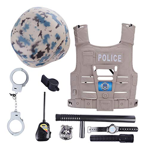 Haoun Police Uniform for Kids,9 Pcs Policeman Costume Role Play Kit with Hat, Vest, Handcuffs and Other Accessories for Pretend Play, Halloween Dress Up