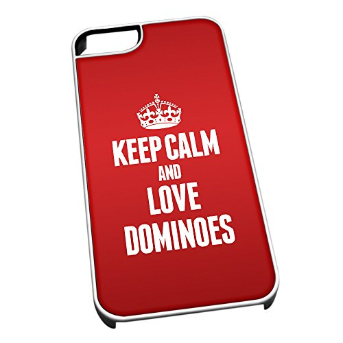 Bianco cover per iPhone 5/5S 1736Red Keep Calm and Love Dominoes