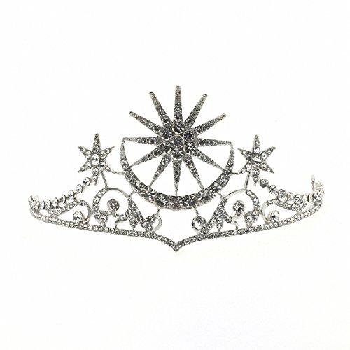 70ILY Women Crystal Star Moon Tiara Bridal Bridesmaid Wedding Hair Accessories Silver Hair Crown Jewelry