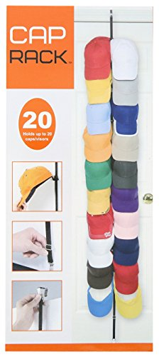 Cap Rack 20 - Baseball Cap Over the Door Holder (Black)