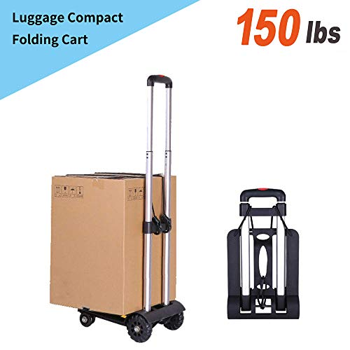 02c7c8262102 Folding Luggage cart, Sanoto Portable Lightweight Hand Cart Dolly with 4  Wheels for Baggage, Boxes Carrier, 150 lbs Utility Cart for Home and Office  ...