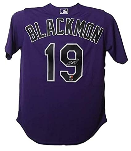 new concept 5e61b 510a3 Charlie Blackmon Signed Colorado Rockies Purple XL Majestic ...