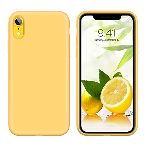 iPhone XR Case Liquid Silicone, GUAGUA Soft Gel Rubber Slim Lightweight Microfiber Lining Cushion Texture Cover Shockproof Protective Anti-Scratch Phone Cases for iPhone XR 6.1-inch, Yellow