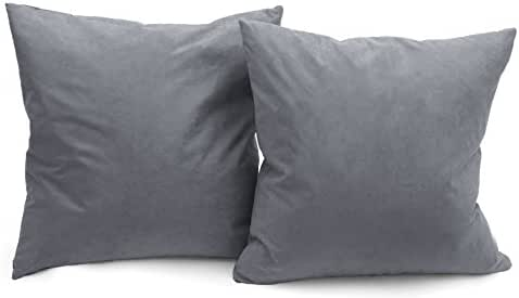 DeluxeComfort MS-18x2-DRKGREY Luxury Microsuede Decorative Solid Color Couch Pillows Down Filled with Feather, Set of 2, 18