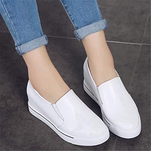 Mocasines Creepers De Blanco Casual Pisos Zapatos Mujer Slip Estudiantes on Otoño Slipony Plataforma Cuñas dxXfaqwaY