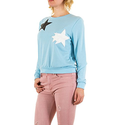 Applikationen Sweatshirt Für Damen , Blau In Gr. M bei Ital-Design