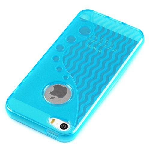 iPhone SE / 5 / 5s Case Schutzhülle Schutz Handy Hülle Bumper Tasche Etui Schale S-Line BUBBLE in Blau Transparent