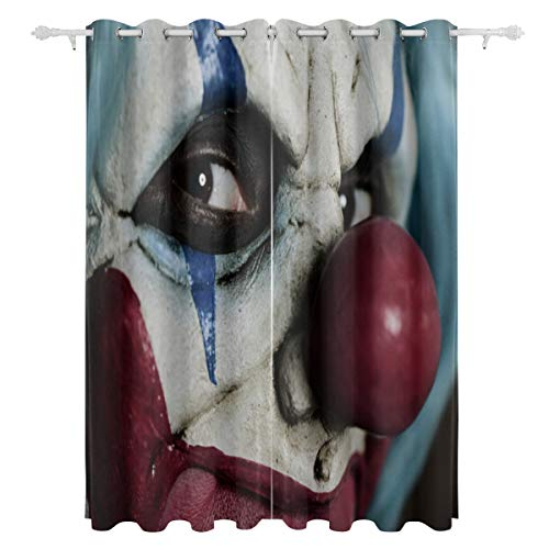 YSWPNA Evil Scary Clown Monster Decorative Hanging 2 Panel Set Printed Blackout Window Curtains for Bedroom Living Room Dining Room Window Drapes 55x84 Inch Curtain