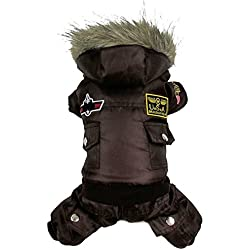 TAONMEISU Dog Clothes Dog Costume Dog Jacket Cute USA Air Force Design Dog Jumpsuits Cloth Hoody Apparel Coffee