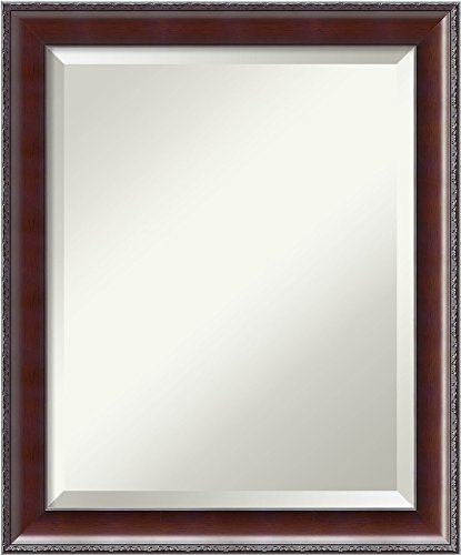Framed Vanity Mirror | Bathroom Mirrors for Wall | Country Walnut Mirror Frame | Solid Wood Mirror | Small Mirror | 23.50 x 19.50