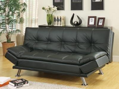 black-finish-leather-like-vinyl-folding-futon-sofa-bed-with-chrome-finish-legs