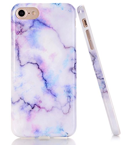 BAISRKE White Colorful Marble Design Clear Bumper TPU Soft Rubber Silicone Cover Phone Case Compatible with iPhone 7 (2016) / iPhone 8 (2017) [4.7 inch]