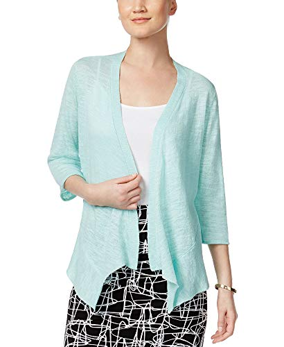 Alfani Sweater - Alfani Womens Linen Drapey Cardigan Sweater Green XL