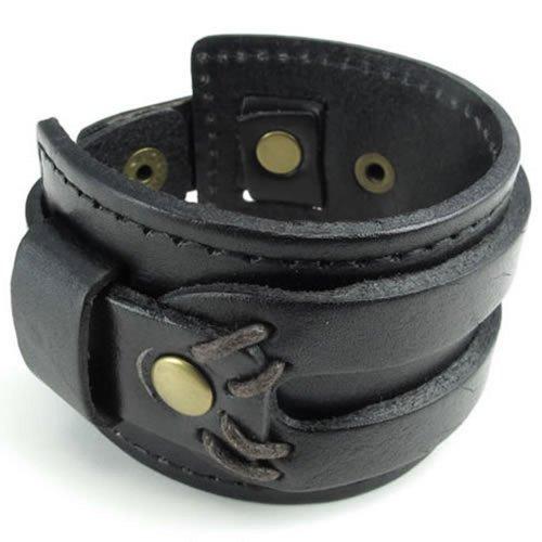 KONOV Jewelry Wide Genuine Black Leather Men's Bangle Cuff Bracelet