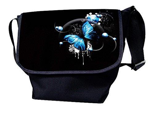 Luxburg® - Bolso al hombro para mujer multicolor bandera de usa mariposa azul