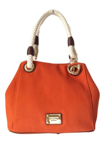 d2231c2106ad Michael Kors Marina Md Grab Bag Tangerine Orange Canvas Hemp Anchor Rope  Tote: Amazon.co.uk: Clothing