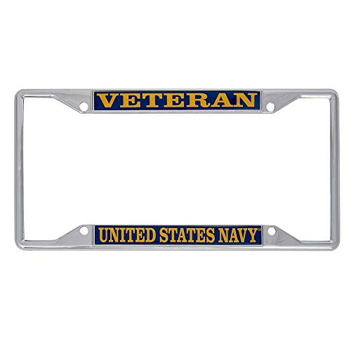 US Navy Veteran License Plate Frame for Front Back of Car Officially Licensed United States ()