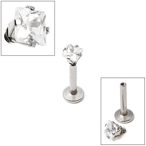 16g Internally Threaded Square Dia Cut Clear Gem Prong Set 5/16(8mm)labret by BodyJewelryOnline