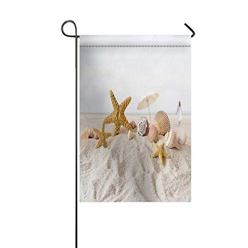 (zhurunshangmaoGYS Garden Flag House Banner Decorative Flag Home Outdoor Valentine, Starfish Seashell Beach Landscape Welcome Holiday Yard Flag 12 x 18inch)