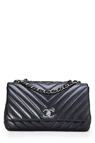 CHANEL Black Lambskin Chevron Flap Medium - Chanel Flap Bag