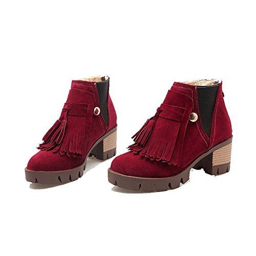 Runde Allhqfashion Zipper Boots Geschlossene Kitten Frosted Solide Zehe Heels Rot Damen 8araqxIO