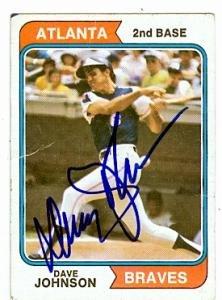 Autograph Warehouse 75152 Davey Johnson Autographed Baseball Card Atlanta Braves 1974 Topps No .45 Poor Condition