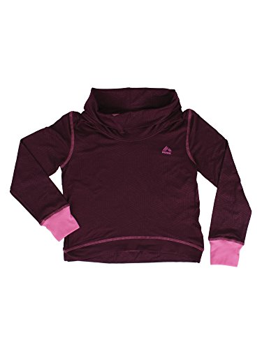 [RBX Active Girl's Printed Peached Jersey Cowl Neck Tunic Cranberry / Pink Combo 7/8] (Plaid Cowl Neck)