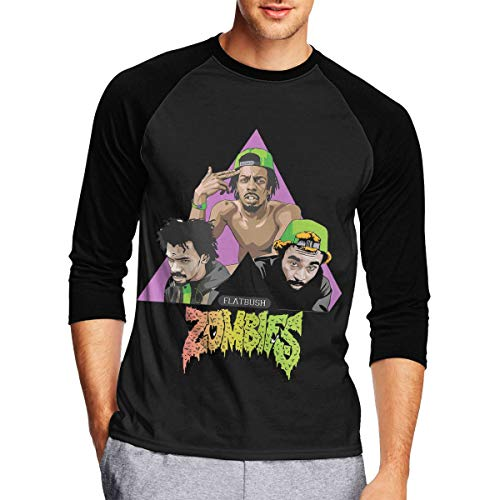 Mens Long Sleeve T Shirts, Funny Zombies Long Sleeve Tee Classic Casual Jersey Black - Long Zombies Sleeve Funny