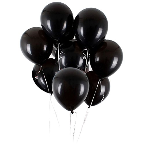UTOPP 50 pcs Black Balloons 12 Inches Ultra Thickness Latex Balloon Pearlized for theme Thanksgiving Christmas Wedding decorations