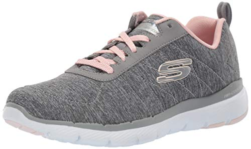 Skechers Women's Flex Appeal 3.0 Sneaker, Grey Light Pink, 8 M US