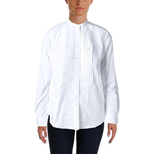 - Lauren Ralph Lauren Womens Long Sleeves Tuxedo Button-Down Top White 10