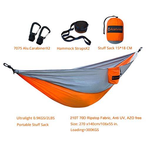 Shoppy Star Camping Hammock Ultralight Portable Parachute Nylon Hamc With Aluminum Carabiners Hammock Tree Straps 300CMX2PCS Hamaca Acehmks: Orange with straps